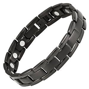 Willis Judd New Mens All Black Titanium Magnetic Bracelet In Black Velvet Gift Box + Free Link Removal Tool