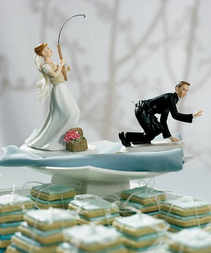 Gone Fishing Porcelain Wedding Cake Topper - Caucasian Couple (2 set, 1 bride + 1 groom)