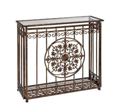 Buy Low Price Entryway Console Table Glass Top Medallion Center in Antique Brown (B003BNLDEU)