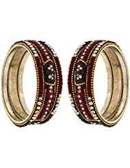 Anuradha Art Maroon & Green Colour Styled With Stone Bangles Set For Women