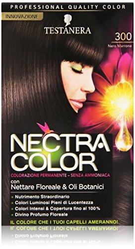 Testanera - Nectra Color, Colorazione Permanente, Senza Ammoniaca, 300 Nero Marrone