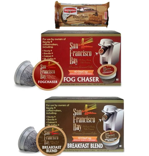 San Francisco Bay Coffee Fog Chaser (40 cups) and Breakfast Blend (40 cups) OneCups for Keurig K-Cup Brewers + FREE BONUS Biscuits