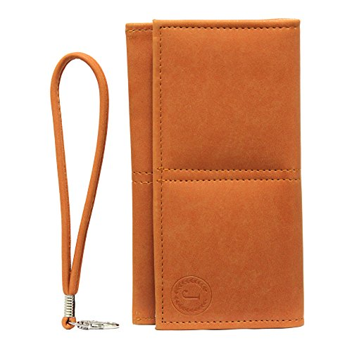 Jo Jo A5 Nillofer Leather Wallet Universal Pouch Cover Case For Apple iPhone 5S (16GB) Orange