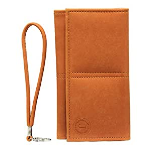 Jo Jo A5 Nillofer Leather Wallet Universal Pouch Cover Case For Motorola WX395 Orange