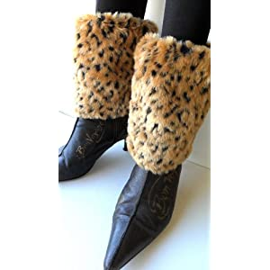 Best Cheetah Faux Furry Leg Warmer Cuff Muff Boot Cover 7