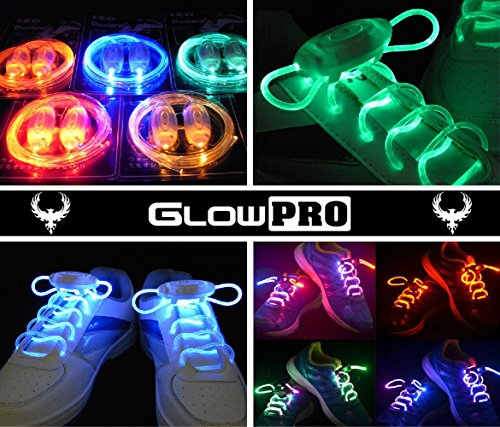 GlowPRO-LED-Shoelaces-Glow-in-the-Dark-Neon-Rainbow-Colors-are-Dazzling-Cool-Fun-for-Disco-Party-Cosplay-and-Hiphop-Dance-Raves-Flashing-Lights-for-High-Visibility-Night-Safety-Running-Biking