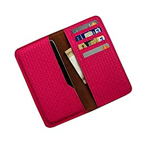 i-KitPit : PU Leather Wallet Flip Pouch Case For Videocon A26 (PINK)