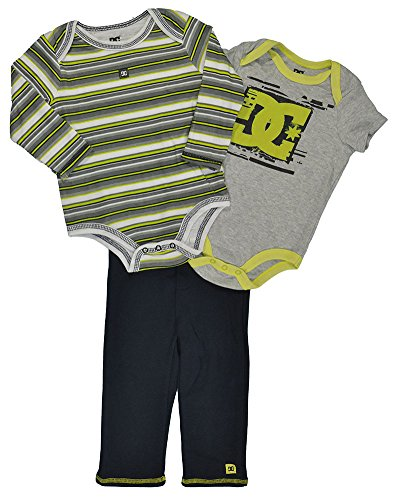 Dc Shoes Baby Boys Gray & Lime Logo Bodysuit 3Pc Pant Set (18M) front-1013793