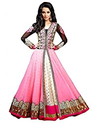 Dipak Fashion New Designer Pink Fancy Embroidery Georgette Salwaar Kurti For Women