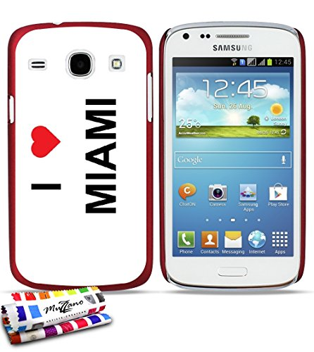 GENUINE Extra-Slim rigid Red Case I LOVE MIAMI By MUZZANO for SAMSUNG GALAXY CORE