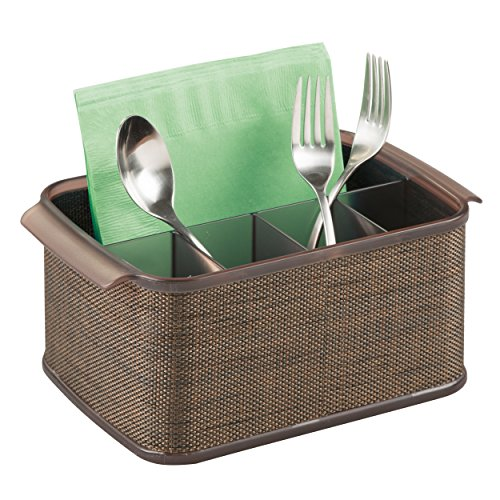 mDesign Silverware, Flatware Caddy Organizer for Kitchen Countertop Storage, Dining Table - Bronze/Sand