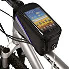 Cycling Bike Bicycle Frame Pannier Front Top Tube Bag Large Waterproof for Phone 5.5 inch Mobile Cell Phone Blue Black