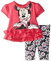 Disney Baby Girls  Minnie Mouse Girl Legging Set, Red, 6-9 Months