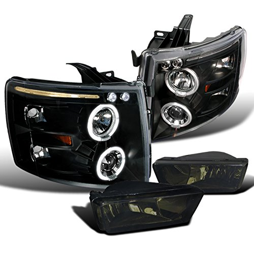 Chevy Silverado LED Black Halo Projector Smoke Fog Lamps (09 Chevy Silverado 2500 Grill compare prices)