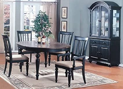 5pc Vintage Style Black Finish Oval Dining Table & 4 Chairs Set