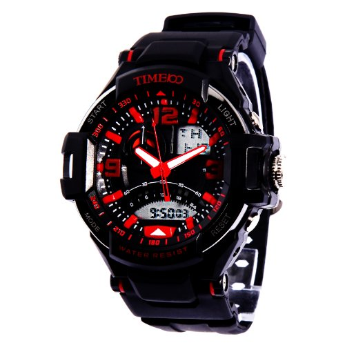 Time100 Led Dual-Time Display Multifunction Red Numbers Sport Electronic Watch #W40103G.02A