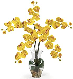 Nearly Natural 1106-YL Phalaenopsis Liquid Illusion Silk Flower Arrangement, Yellow