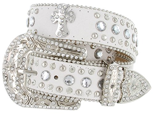 Rhinestone Cross Jeweled Studded Western Cowgirl Belt Black, White (Medium, White)
