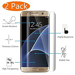 Galaxy S7 Edge Screen Protector, KingAcc(TM) 2-Pack Full Coverage Galaxy S7 Edge Screen Protector With 3D Full Curved Edge 4H Hardness No Bubble Shockproof Anti-Scratch for Samsung Galaxy S7 Edge