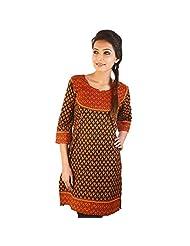 Jaipur RagaJaipuri Print Designer Red-Black Cotton Kurti Red-Black Cotton Kurti