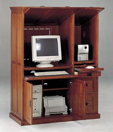 Buy Low Price Comfortable All new item Oak finish mission style wood computer armoire desk cabinet (B0014B5AS6)