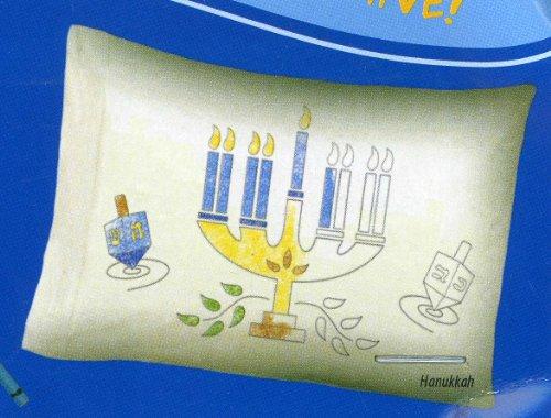 Design Your Own Pillowcase Coloring Hanukah Menorah Dreidels - 1