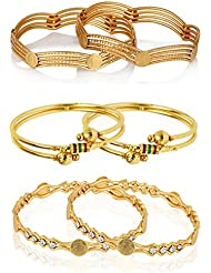 Zeneme Designer Gold Plated Jewellery Bangles For Women And Girls - Combo Of 3