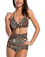 DJT Vintage Bikini Femme 2 pieces Maillot de bain Taille haute style Multi-motifs