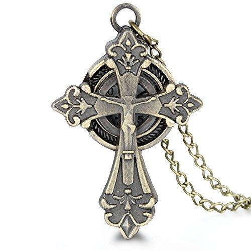"""JewelryWe Gioielli collana con pendente da uomo donna antico Gesu cristo Croce Orologio da tasca con catena 31.5""""(con regalo borsa)"""