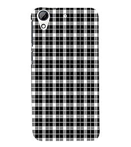 Fuson Premium Black n White Cheques Printed Hard Plastic Back Case Cover for HTC Desire 728