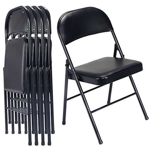 MasterPanel - SSet of 4 Black Folding Chairs Steel PU Portable Home Garden Office Furniture #TP3263