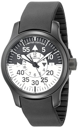 Fortis-Mens-6721811-K-B-42-Flieger-Black-Cockpit-GMT-Stainless-Steel-Watch