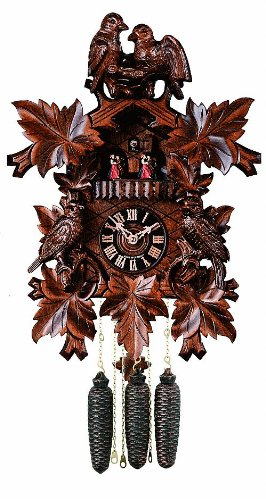 River City Clocks MD875-18 Eight Day Musical Cuckoo Clock with Dancers, Four Hand-Carved Birds And Maple Leaves, 18-Inch Tall