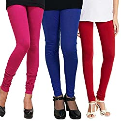 Women's Cotton Lycra Leggings Combo Pack of 3 (Pink, Blue and Red)