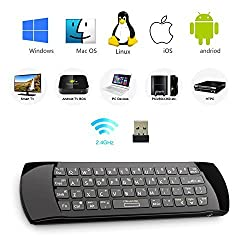 Rii K25A 4 in 1 Multifunction Portable 2.4GHz Mini Wireless Air Mouse Keyboard ,Audio Feature And IR Infrared Remote Control With Rechargable Li-ion Battery for PC,Laptop,Raspberry PI 2, MacOS,Linux, HTPC, IPTV, Google Box, A
