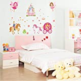 UberLyfe Glow in the Dark Life of a Princess Castle, Chariot and Angels Wall Sticker (Wall Covering Area: 80cm x 120cm)