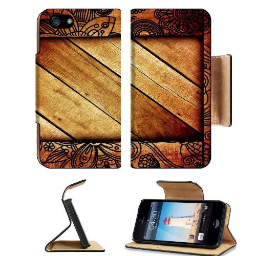 Pattern Wooden Block Print Apple Iphone 5 Flip Cover Case With Card Holder Customized Made To Order Support Ready Premium Deluxe Pu Leather 5 3/16 Inch (132Mm) X 2 11/16 Inch (68Mm) X 9/16 Inch (14Mm) Liil Iphone 5 Professional Cases Touch Id Gold Spec Ac front-303867