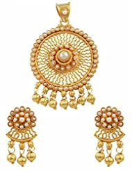 Ethnic Traditional Indian Pendant Set In Pearls