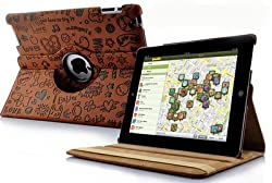 KolorFish iFun Love Printed Funky Designer 360 Degree Rotation Leather Flip Book Case Cover Cover Stand Apple iPad Air