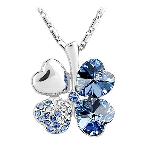 Le Premium® - quattro-foglio Collana ciondolo trifoglio con a forma di cuore cristalli Swarovski Elements cielo blu