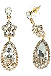 Rhinestone Studded Star & Clear Teardrop Stone Accent in Gold-Tone