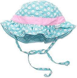 i play. Baby Girls\' Reversible Ruffle Bucket Sun Protection Hat, Aqua, 0-6 Months
