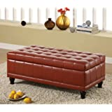 Red Flip-top Bicast Leather Storage Bench Ottoman