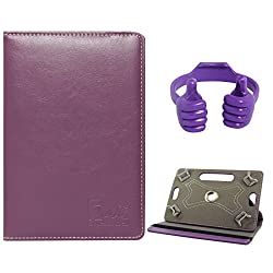 DMG Portable Foldable Stand Holder Cover Case for Vizio Vz-706 (Purple) + Tablet Holder Hand Stand