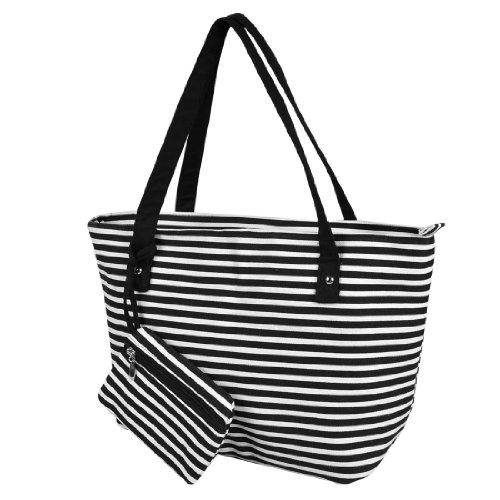 Stripe Pattern Zipper Canvas Shopping Bag Handbag White Black - 1