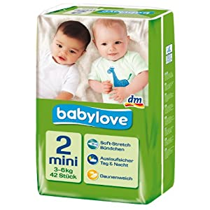 Babylove Windeln Größe Mini 3-6kg, 2er Pack (2 x 42 Stück)