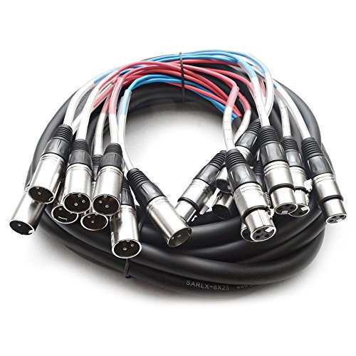 Seismic Audio - SARLX-8x25 - 8 Channel XLR Snake Cable - 25 Feet Long - Pro Audio Snake for Live Live, Recording, Studios, and Gigs - Patch, Amp, Mixer, Audio Interface 25`