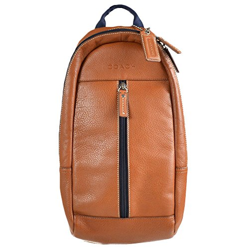 Coach Mens Heritage Web Leather Sling Bag Travel Backpack 70811 Brown Saddle