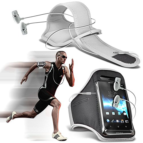 ( White + Ear phone ) LG X power Case High Quality Fitted Sports Armbands Running Bike Cycling Gym Jogging Ridding Arm Band Case Cover With Case High Quality Fitted in Ear Buds Stereo Hands Free Headphones Headset with Built in Micro phone Mic and On-Off Button by i-Tronixs