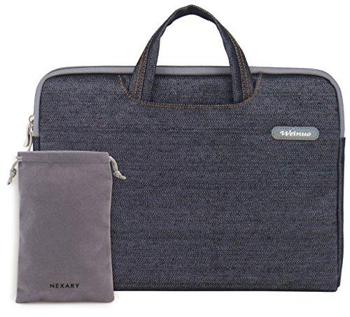 NEXARY デニム調 Ultrabook MacBook 13.3 インチ用 PC インナーケース / 収納式ハンドル、小物収納ポケット付き / ACアダプタ ポーチ セット (13' ブラック)